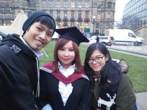 Igloo at her graduation with friends at Sheffield