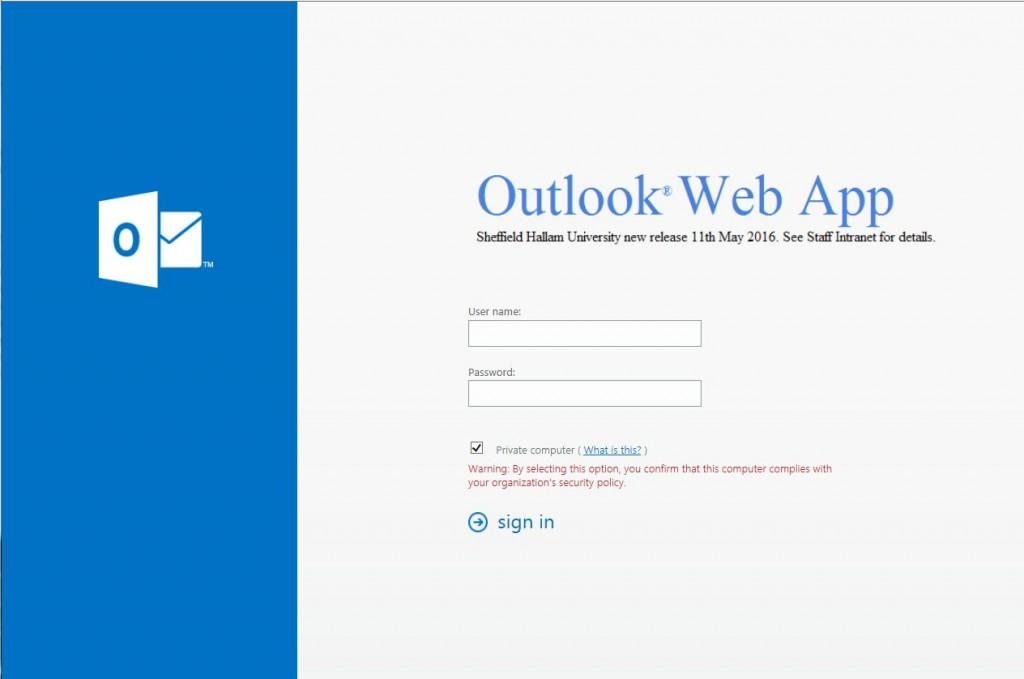 outlook web app - shu 2016 image