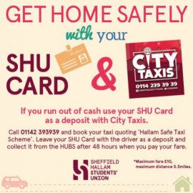Get home safely with your SHU card and City Taxis