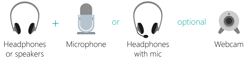 Headphones or speakers and a microphone or headphones with an inbuilt microphone. A webcam is optional.