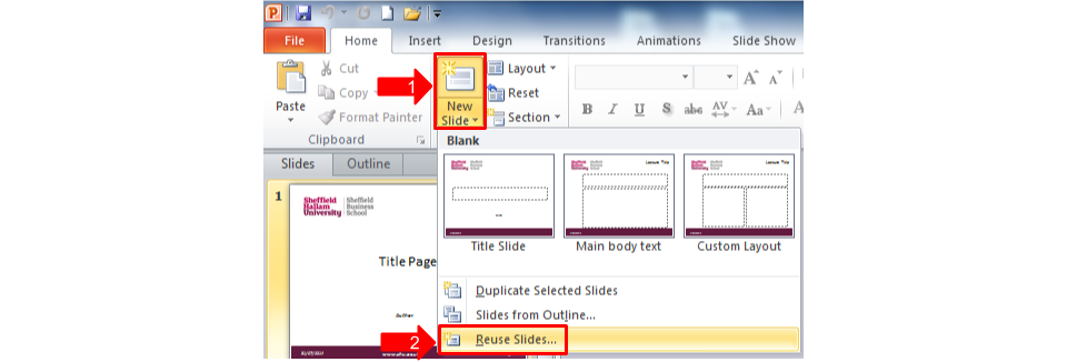 powerpoint importing slides into a master slide template sbs