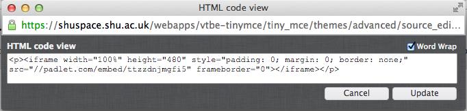 Padlet embed code in iframe in Blackboard