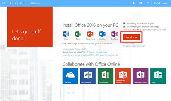 Install One Drive and Office 365