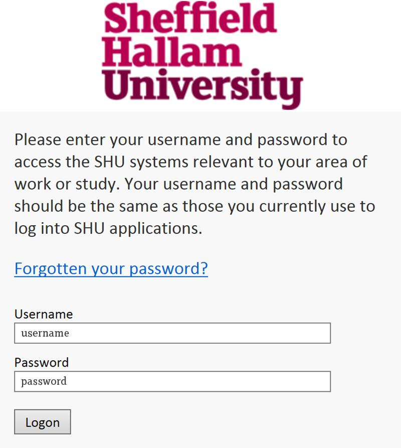 Log in with your usual username and password