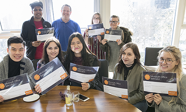 Students with their Microsoft Office Specialist awards