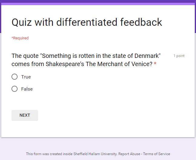Quiz Start Page