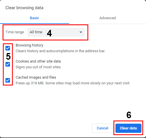 Clear browsing data 4 - 6