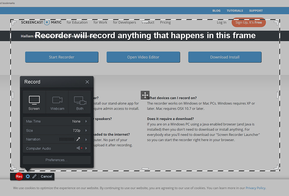 A picture of the screencast recorder
