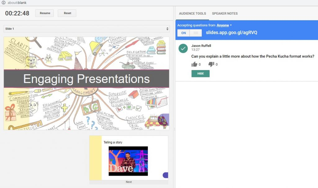 You can see questions come in to your presentation monitor