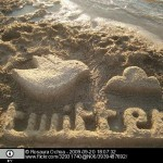 Sand sculpture of twitter logo