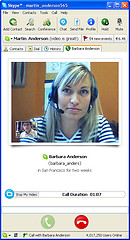 Sample screen of Skype video call, with a woman and man in the picture talking to each other