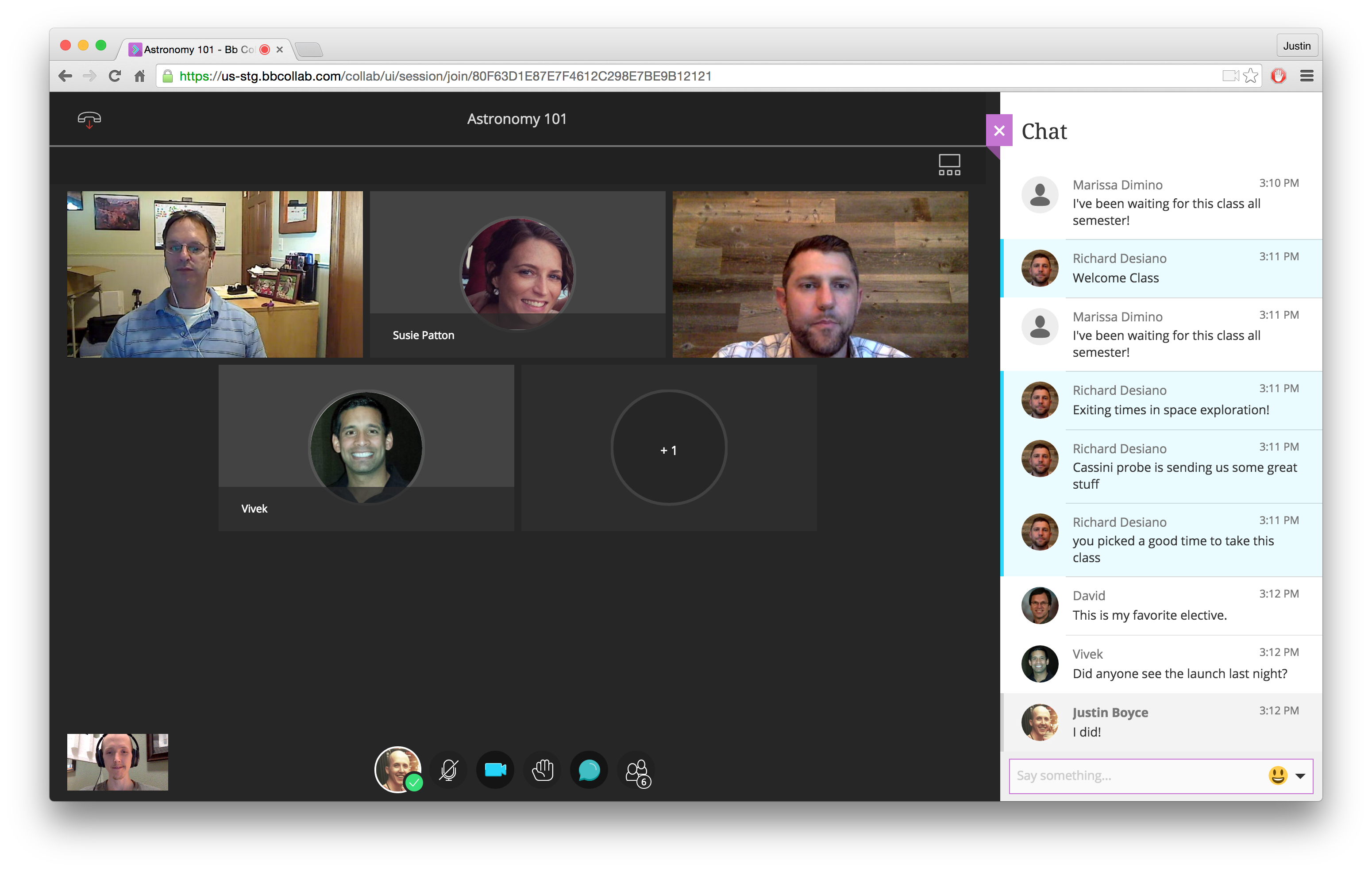 Screen shot of Collaborate Ultra virtual classroom