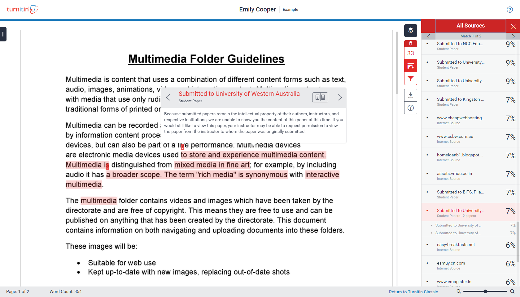 Screenshot of the new TurnItIn report