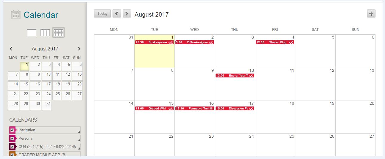 Blackboard Calendar View