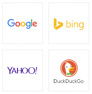 logos of the most popular search engines - Google, Bing, Yahoo, DuckDuckGo