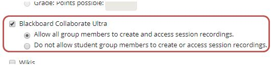 Snip of group tools list showing Collaborate Ultra