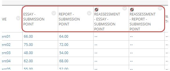Snip of the Grade Centre demonstrating the full assessment names in grade columns