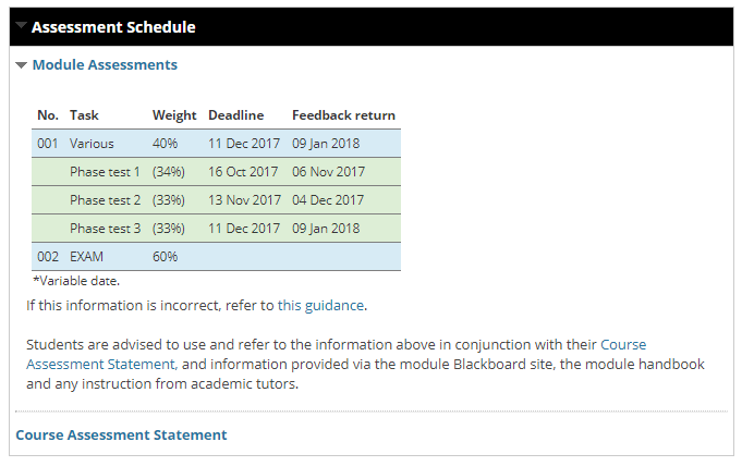Screen shot showing Assessment Schedule channel on a Blackboard module site home page