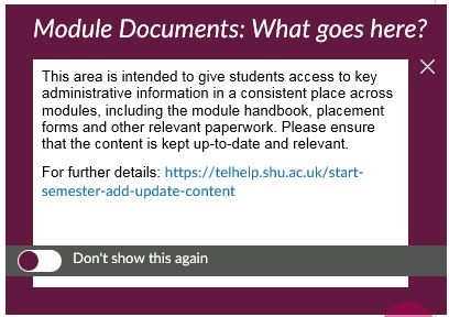 Example What Goes Here? Pop-up message in Blackboard