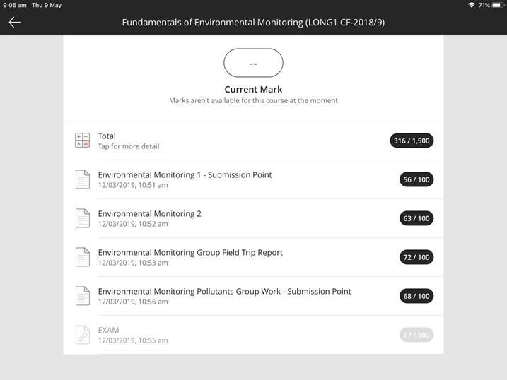 screen showing monochrome grades in the blackboard app
