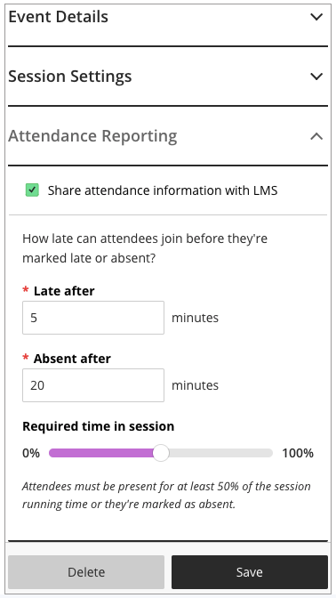 Collaborate Attendance Reporting settings