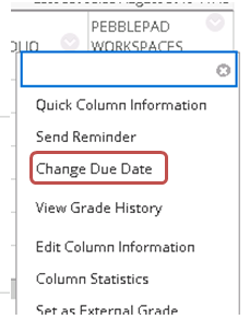 Grade column context menu highlighting change due date