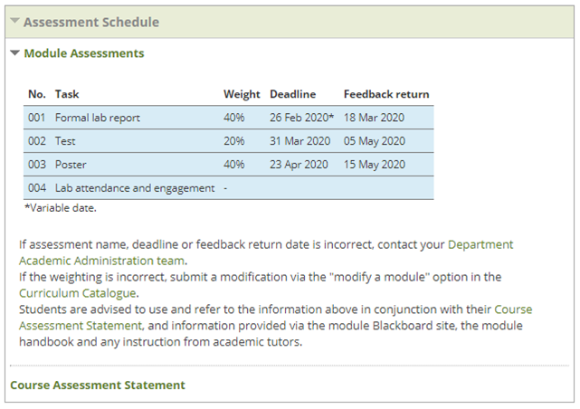Screenshot of Assessment Schedule Channel on a Blackboard module site home page