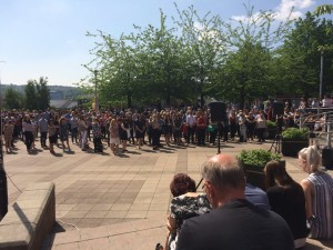 Our University community observing a minute's silence to remember the victims of the Manchester attack.